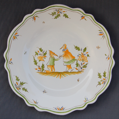 Feston plate with Moustiers 14 hand painted decoration