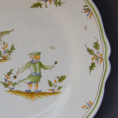 Feston plate with Moustiers 18 hand painted decoration