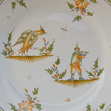 Feston plate with Moustiers 19 hand painted decoration