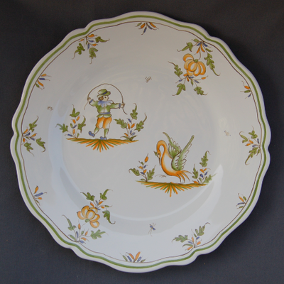 Feston plate with Moustiers 20 hand painted decoration