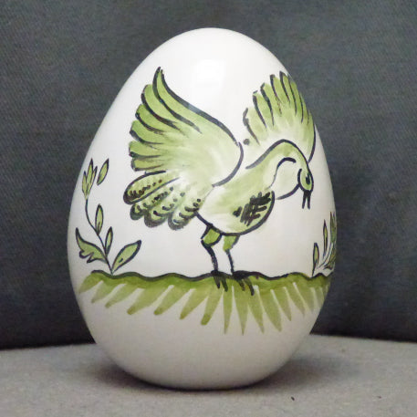 Egg with Moustier Bird monochrome green hand painted decoration