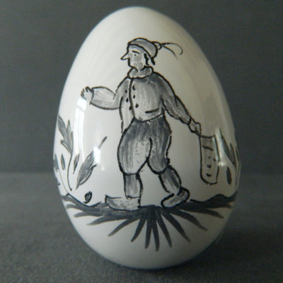 Egg with Moustiers monochrome grey 1 hand painted decoration