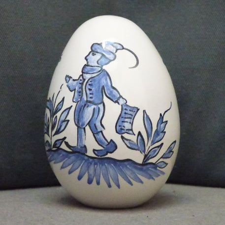 Egg with Moustier monochrome blue hand painted decoration
