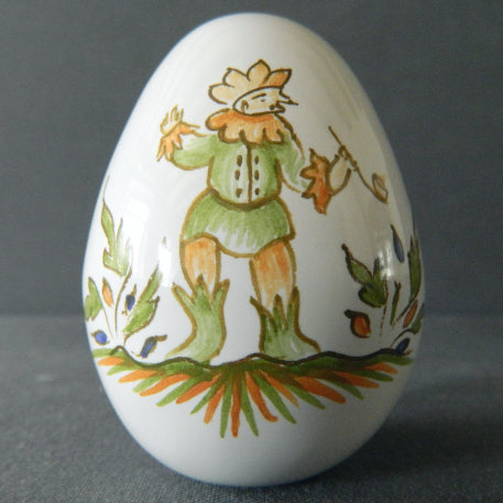 Egg with Moustier polychrome hand painted decoration
