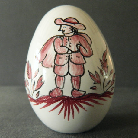Egg with Moustier monochrome red hand painted decoration