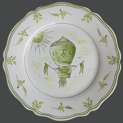 Feston plate with Montgolfière 3 Green hand painted decoration