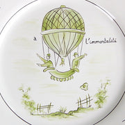 Feston plate with Montgolfière Green - A l'immortalité hand painted decoration