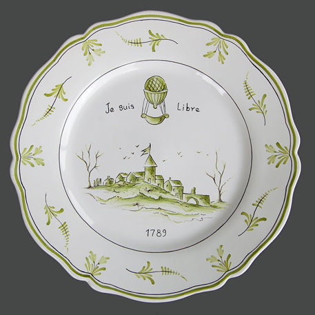 Feston plate with Montgolfière Green - Je suis Libre hand painted decoration