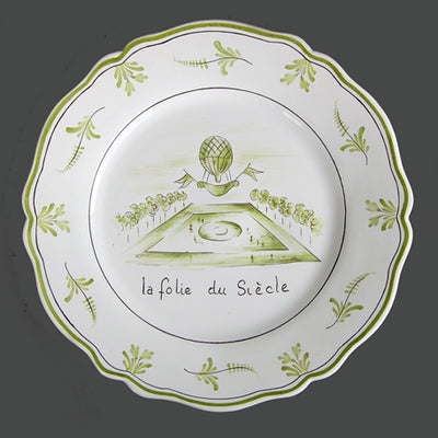 Feston plate with Montgolfière Green - La folie du Siècle hand painted decoration