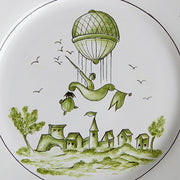 Feston plate with Montgolfière 1 Green hand painted decoration