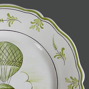 Feston plate with Montgolfière 2 Green hand painted decoration