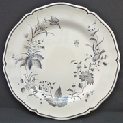Rond Festons serving plate with St Omer Grey hand painted decoration