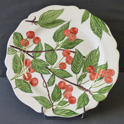 Feston Plate with hand painted Pouplard Cerise decoration