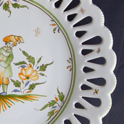 Openwork Chevet plate with Moustiers 5 hand painted decoration