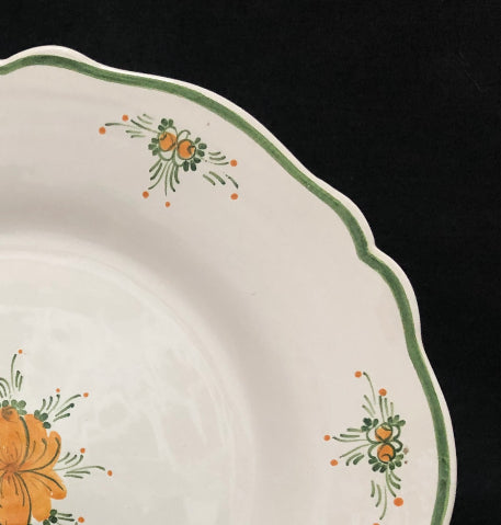 Feston plate with Romantique 7 Orange Green hand painted decoration