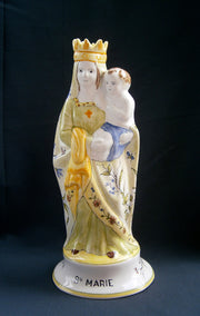 Earthenware Virgin of Childbirth with St-Omer hand painted decoration