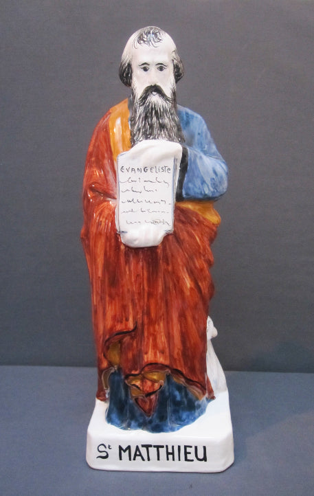 Earthenware St Mathieu Evangeliste Statue with hand painted decoration