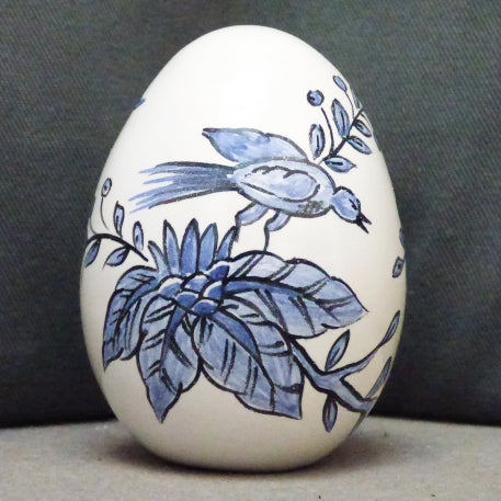Egg with St Omer monochrome blue hand painted decoration