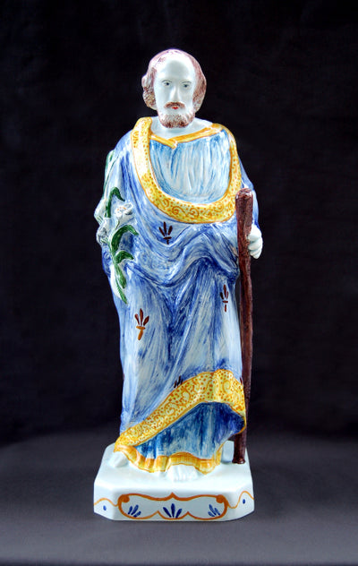 Earthenware St-Joseph Statue with hand painted decoration