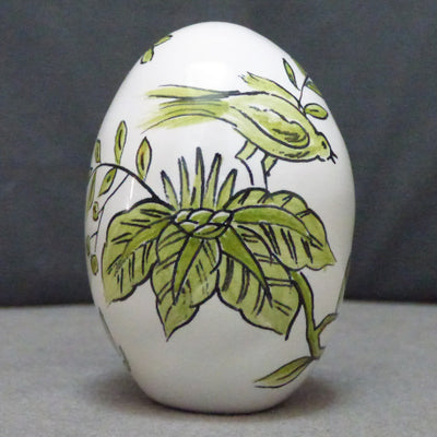 Egg with St Omer monochrome green hand painted decoration