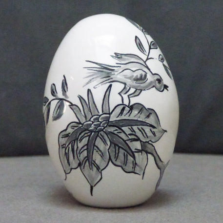 Egg with St Omer monochrome grey hand painted decoration