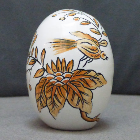 Egg with St Omer monochrome orange hand painted decoration