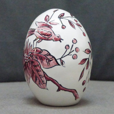 Egg with St Omer monochrome raspberry hand painted decoration