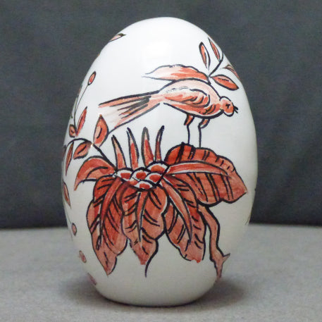 Egg with St Omer monochrome red hand painted decoration