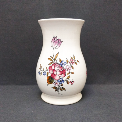 Earthenware Bonneau vase with Strasbourg hand painted decoration