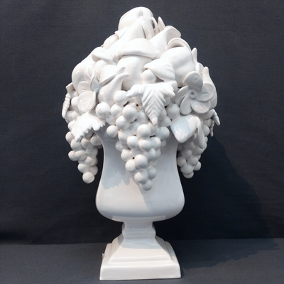 White Vase Carre Saxe with fruit sculpture