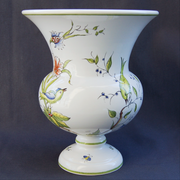 Earthenware Medicis Launay vase with St Omer hand painted decoration