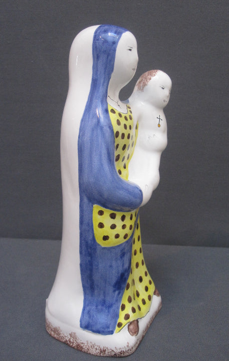 Earthenware Virgin Trudelle Statue with hand painted decoration