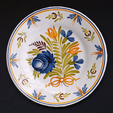 Bord Uni Plate with hand painted Antique Fleurs 1 decoration