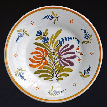 Bord Uni Plate with hand painted Antique Fleurs 2 decoration