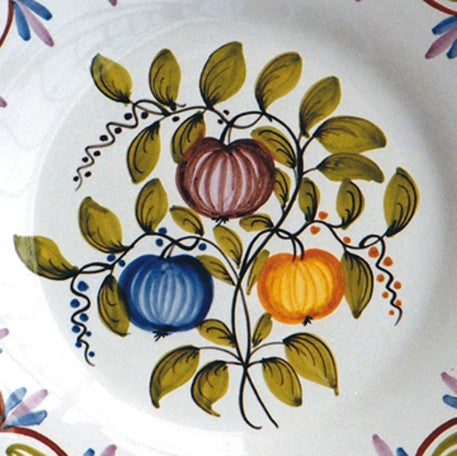 Bord Uni Plate with hand painted decoration Antique Fleurs 79