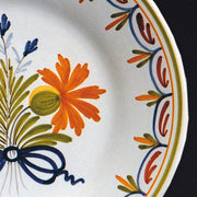 Bord Uni Plate with hand painted decoration Antique Fleurs 87