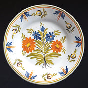 Bord Uni Plate with hand painted decoration Antique Fleurs 88