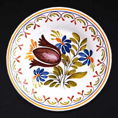 Bord Uni Plate with hand painted decoration Antique Fleurs 89