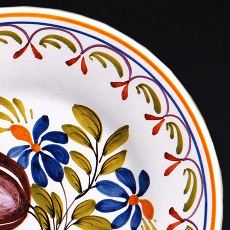 Bord Uni Plate with hand painted Antique Fleurs 89 decoration