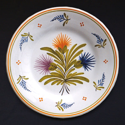 Bord Uni Plate with hand painted decoration Antique Fleurs 90