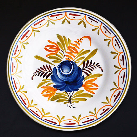 Bord Uni Plate with hand painted decoration Antique Fleurs 92