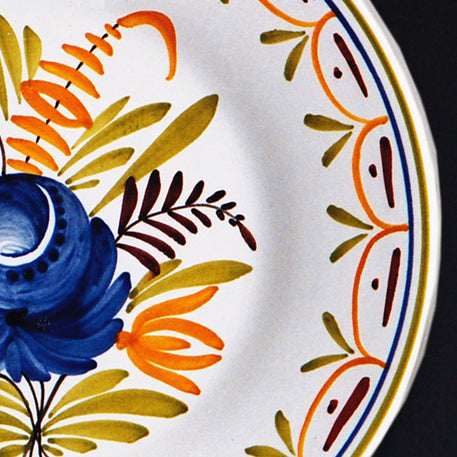 Bord Uni Plate with hand painted Antique Fleurs 92 decoration
