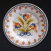 Bord Uni Plate with hand painted decoration Antique Fleurs 94