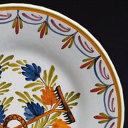 Bord Uni Plate with hand painted Antique Fleurs 95 decoration