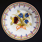 Bord Uni Plate with hand painted decoration Antique Fleurs 98