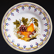 Bord Uni plate with Antique fruits 80 hand painted decoration