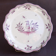 Creuse Feston Louis XV shallow plate with Moustiers 6 violine hand painted decoration