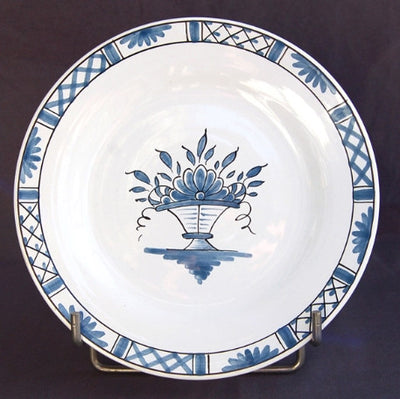 Bord Uni plate with Rouen Panier Prouet blue hand painted decoration
