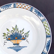 Bord Uni plate with Rouen Panier Prouet polychrome hand painted decoration