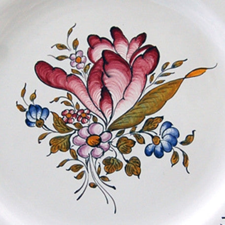 Feston plate with hand painted Strasbourg Fleurs 5 decoration
